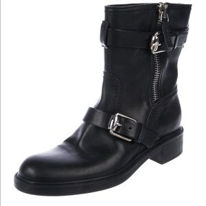 Gucci Leather black biker boots. 100% Auth!